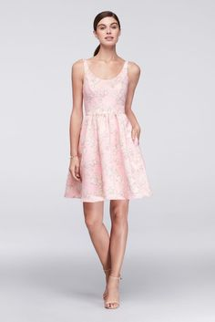 Printed Satin Scoop Neck Fit and Flare Dress - Pink Print, 14