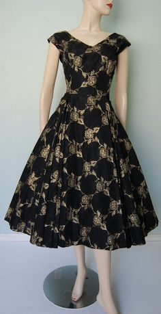 ~1950s New Look Double Embroidered Taffeta Party Dress - Full Sweep Skirt - Black and Gold~
