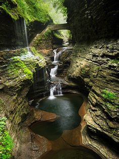 Watkins Glen State Park in the Fingerlakes region of New York has a reputation for leaving visitors spellbound. Within two miles, the glen's stream descends 400 feet, past 200-foot cliffs, generating 19 waterfalls along its course. The gorge path winds over and under waterfalls. Rim trails overlook the gorge. Campsites and picnic facilities are available, as well as an Olympic-size pool.