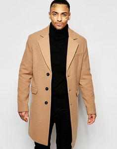 ASOS | ASOS Wool Rich Overcoat In Camel at ASOS