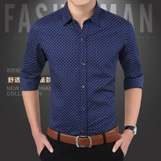2015 New Arrival Autumn Brand Dress Men Shirt Long Sleeve Male Business Casual Shirt Polka Dot Shirts Men Fashion Formal Shirts