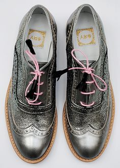 ABO shoes by Iva Ljubinkovic #abo #aboshoes #brogues #fashion #silver #silvershoes #mint #oxfordshoes #oxfords #flats