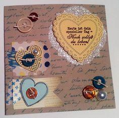 """""""Hoch sollst Du leben"""" - Karte mit dem Set """"Hearts a flutter"""", Glitzerpapier und Designerpapier """"Papier-Träume"""" von Stampin' Up! - mehr Bilder gibts wie immer auf meinem Blog"""