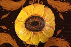 Two-sided handpainted stone/ sunflower/ by EmmysHeartsnCrafts