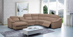 Divani Casa Saffron   Modern Leather Sectional Sofa With Beverage Console  And Recliners