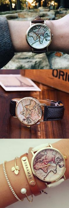 Vintage Wanderlust Map Watch,Flash sale - 80% off for a limited time!