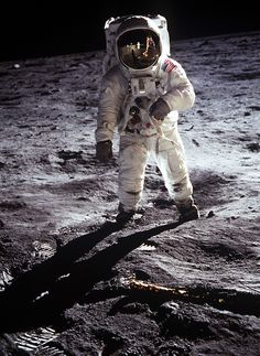 Aldrin poses on the Moon, allowing Armstrong to photograph both of them using the visor's reflection on July 20, 1969.