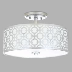 With a white fabric drum shade overlaid with carved metal finished in silver, our flush-mount ceiling lamp steals the show in any room. Inspired by the glamorous opulence of Old Hollywood, it's a timeless piece with a modern flair. Bedroom Light Fixtures, Kitchen Lighting Fixtures, Ceiling Light Fixtures, Bedroom Lighting, Bedroom Ceiling Lights, Flush Mount Kitchen Lighting, Chandelier Bedroom, Ceiling Chandelier, Chandeliers