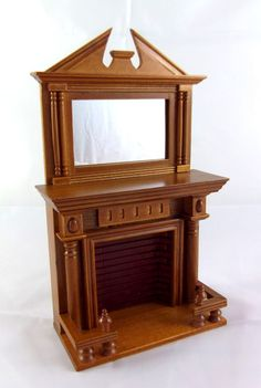 Dolls House Miniature 1:12 Furniture Wooden Walnut Fireplace with Mantle Mirror