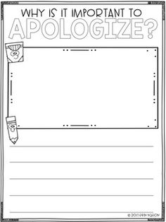 A classroom lesson on giving an apology -- why they are important, the parts of a good apology, and how it feels after someone apologizes to YOU Elementary School Counselor, School Counseling, Elementary Schools, Social Work Activities, Social Emotional Activities, Class Activities, Classroom Behavior, Classroom Management, Guidance Lessons