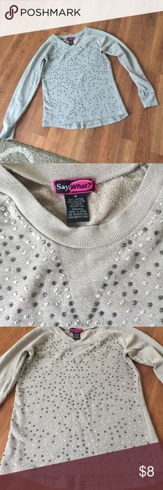 Say What? Sequined Sweater Looks new! No fades, tears, or stains!! Taupe in color. Such a cute top! Say What? Sweaters Crew & Scoop Necks