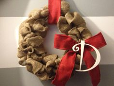 Ruffled Burlap Monogrammed Wreath by RuffledCouture on Etsy, $39.95