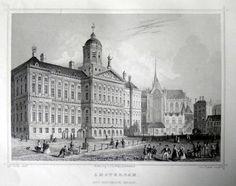 Amsterdam-Koninklijk Paleis   Herkomst : J.L. Terwen - Het Koningrijk der Nederlanden, afm. 14 x 20 cm Staalgravure 1860