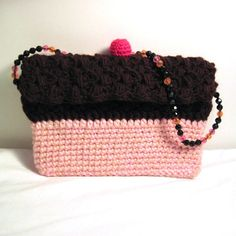 Kindle Nook Ereader Case Cupcake Chocolate Clutch Purse #dteam Crochet For Kids, Crochet Baby, Cherry On Top, Pouch, Wallet, Crochet Purses, Chocolate Cupcakes, Clutch Purse, Kindle