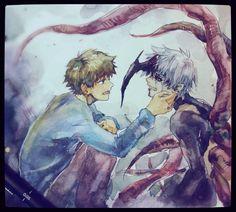 Hide, kaneki - Tokyo Ghoul, this brings me back to the manga All Anime, Anime Love, Manga Anime, Anime Art, Anime Stuff, Hide And Kaneki, Hide Tokyo Ghoul, Fandom, Anime Shows
