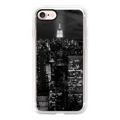 NYC Black & White Manhattan Skyline - iPhone 7 Case, iPhone 7 Plus... ($50) ❤ liked on Polyvore featuring accessories, tech accessories, iphone case, iphone cover case, apple iphone case, iphone cases and black and white iphone case
