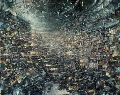 Art for Kowloon walled city in HK. Looks like concept art for a portal game.