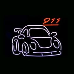 Porsche 911 Gt2 Car Dealer Beerbar Neon Sign///How I love you neon signs , Real nice for my Home Bar Deco