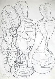 Tony Cragg, « Sans titre », 1996, mine de plomb, 42 x 29 cm.