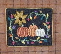 Punchneedle Patterns Plus - Pumpkin Patch Punch Needle Kits, Punch Needle Patterns, Hand Hooked Rugs, Rug Hooking, Fall Halloween, Sewing Crafts, Projects To Try, Miniatures, Pumpkin