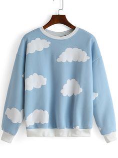Blue Round Neck Cloud Print Sweatshirt 16.14