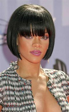 rihanna bob hairstyles with bangs