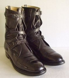Vintage 1930's Brown Leather Men's Boots Motorcycle Steampunk Rat ...