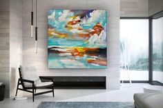 Modern Wall Decor Original Paintings On Canvas Hand Painted image 2 Modern Oil Painting, Large Painting, Art Deco Living Room, Original Paintings, Original Art, Modern Wall Decor, Modern Art, Contemporary Art, Oversized Wall Art