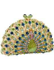 MG Collection Signature Peacock Crystals Half Moon Hard Case  Evening Bag