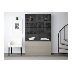 IKEA - BESTÅ Storage combination w/glass doors black-brown, Selsviken At Home Furniture Store, Modern Home Furniture, Glass Bookcase, Ikea Family, Tempered Glass Shelves, Large Drawers, Adjustable Shelving, Home Furnishings, Beige