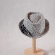 Felted newborn hat grey photo props art fedora boy by EsartFelt
