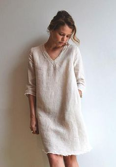 White Linen dress. women fashion outfit clothing style apparel @roressclothes…