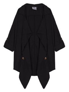 Women Long Sleeve Lapel Button Pure Color Thin Trench Coat Jacket