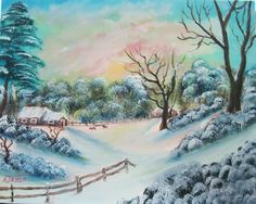 Art Painting Acrylic Landscape Scenic Surreal Handmade Winter by ALBERTSCRAFTS on Etsy