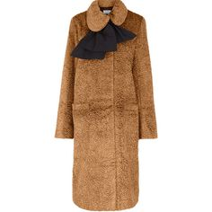 Isa Arfen Bow Neck Velvet Coat in CAMEL (17 840 UAH) ❤ liked on Polyvore featuring outerwear, coats, camel coat, slim fit coat, oversized coat, neck ties and asymmetrical coat