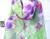 Hand painted Silk Scarf, Green and Purple Bouquet Flowers. Purple Floral Scarf. Mint Floral Scarf. Handmade in the USA. 10x57 in.