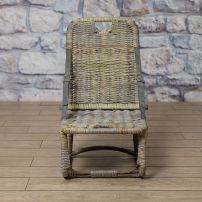 Safari chair with grey nylon strap in cubu rattan in antique grey finish.