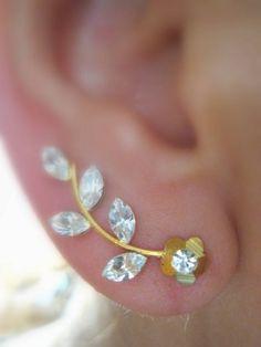 Ear Sweep Wrap - Cuff Earring with Swarovsky - Gold Filled- Flower 3 | blucky - Jewelry on ArtFire