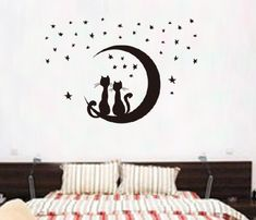 Cartoon cat moon Vinyl Wall Stickers For Kids Rooms Home Decor Art Decals Design Wallpaper Sofa Bedroom house decoration Wall Stickers Romantic, Cheap Wall Stickers, Wall Stickers Murals, Wall Decal, Bedroom Stickers, Bedroom Sofa, Living Room Bedroom, Mural Wall Art, Kids Room Art