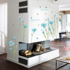 3D Blue Lily Flower Sticker Mural dly  Living Room Bedroom Sofa Background Wall art Home Decoration Wall Decals #Affiliate