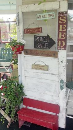 Spring is Here & Garden Decor is in! Diy Projects To Try, Home Projects, Country Porches, Recyle, Garden Items, Decks And Porches, Outdoor Living, Outdoor Decor, Old Doors