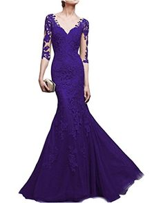 Lafee Bridal Womens Long Lace Mermaid Prom Gown Vneck 34 Sleeve Evening Dress Purple Size8 *** ** AMAZON BEST BUY **