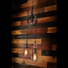 Rustic Farm Pulley Pendant Lighting with Whiskey Bottles Pendant & Chandelier Lighting