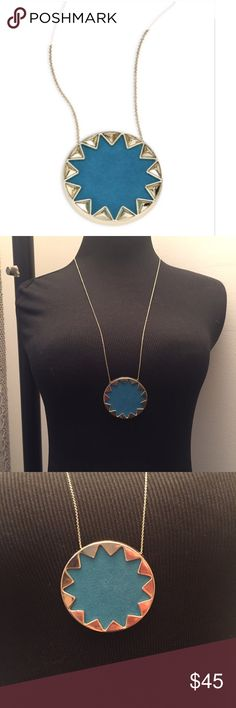 """Authentic HOH teal sunburst pendant necklace A House of Harlow 1960 signature piece. Gorgeous teal color on this large sunburst pyramid pendant necklace has been very popular and adds a chic style to any outfit. Gold plated long dainty chain necklace with high polish leather center inlay sunburst pendant. Pull on style- slips over head- Approx. 26"""" chain length- Approx. 2"""" pendant diameter. Excellent condition worn once or twice. House of Harlow 1960 Jewelry Necklaces"""