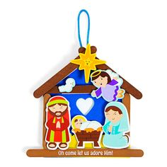 Oh come let us adore Him! Now you can do just that next time you get creative. An adorable addition to religious Christmas crafts for kids, this ornament . Nativity Crafts, Christmas Ornament Crafts, Christmas Crafts For Kids, Christmas Art, Christmas Nativity, Toddler Arts And Crafts, Craft Kits For Kids, Wooden Craft Sticks, Craft Stick Crafts