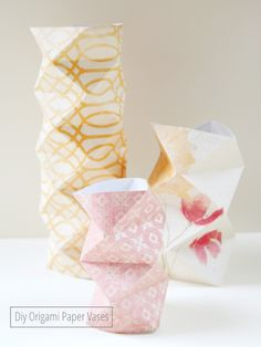 Decorate your home with these beautiful origami vases. They are chic, delicate accents that can be placed on end tables and desks.