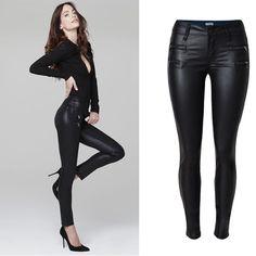 <font><b>New</b></font> Sexy Womens Casual Low Waist Stretchy Wet <font><b>Look</b></font> PU <font><b>Jeans</b></font> Faux Leather Black Pencil Pants Price: USD 28.99 | UnitedStates