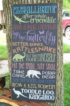 Goodbye Saying, See You Later Alligator After While Crocodile, Hand Stenciled Painted Wood Sign, Typography Sign