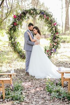 Gorgeous Giant Floral Wedding Ceremony Wreath