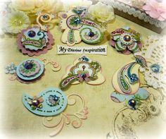 Handmade Paper Pailey, Paper Embellishments and Paper Flowers for Scrapbooking Cards Mini Albums Tags and Papercrafts by mydivineinspiration on Etsy https://www.etsy.com/listing/487033299/handmade-paper-pailey-paper